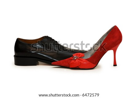 Red and black shoes isolated on the white - more similar photos in my portfolio