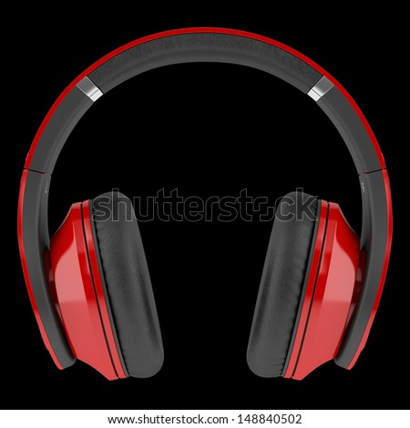 red and black wireless headphones isolated on black background - stock photo