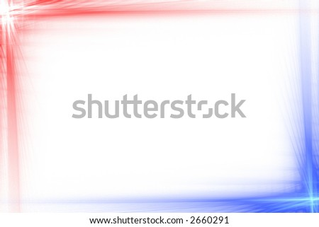 Red and blue abstract flash frame over white with copyspace - stock photo