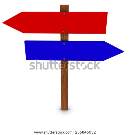 Red and Blue Arrow Signs - stock photo