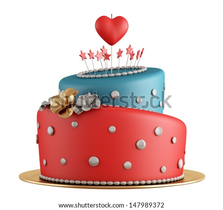 Red and blue birthday cake with candle in the shape of heart isolated on white