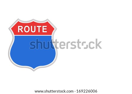 Red and blue Blank Road Sign isolated on white background. - stock photo