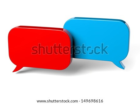 Red and Blue Bubble Speech on White Background 3D Illustration - stock photo