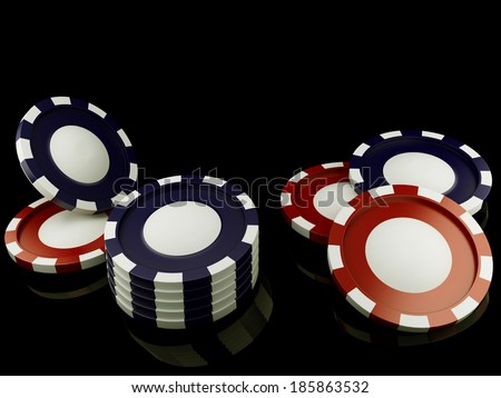 Red and blue casino tokens