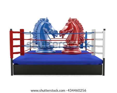 Red and blue chess knight confronting in boxing ring, strategic competition concept, sportive competition on boxing ring, competitive fighting game, 3d rendering