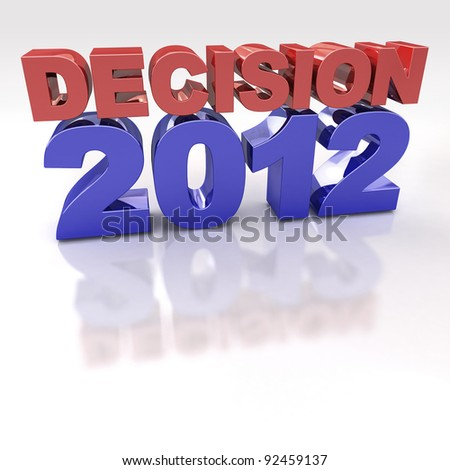 Red and Blue Decision 2012 3D logo on reflective white background - stock photo