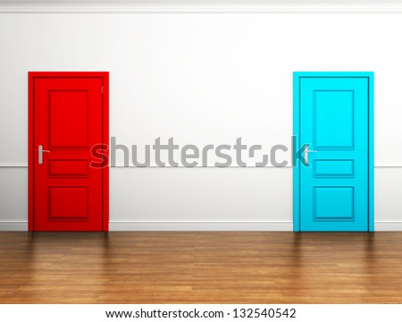 red and blue doors in the interior - stock photo