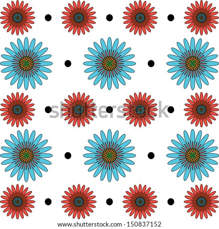 Red and Blue flower pattern illustration - stock photo
