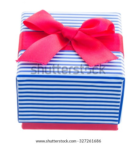 red and blue gift box with bow isolated on white background
