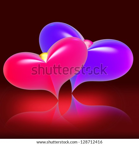 Red and blue hearts against a dark background with reflection - stock photo