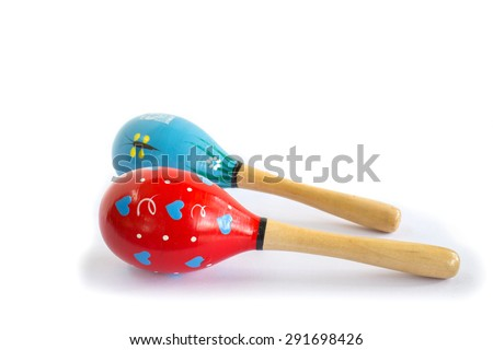 red and blue maracas isolated on white background - stock photo