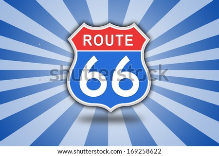 Red and blue Route 66 Road Sign isolated on blue sunbeam background with copy space.