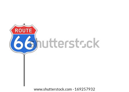 Red and blue Route 66 Road Sign isolated on white background. - stock photo