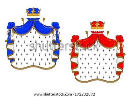 Red and blue royal mantles isolated on white background for heraldry design. Vector version also available in gallery - stock photo