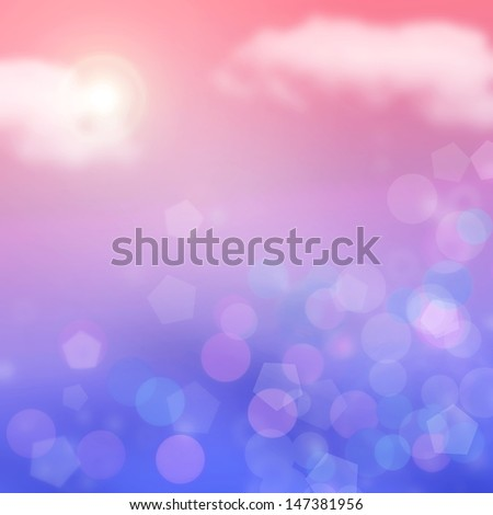 Red and Blue Summer Bokeh Background