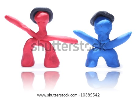 Red and blue toy plaster - stock photo