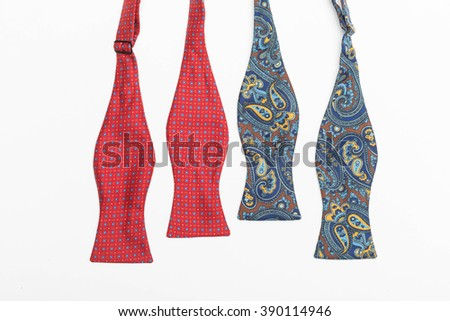 Red and Blue untied fashion bows - stock photo