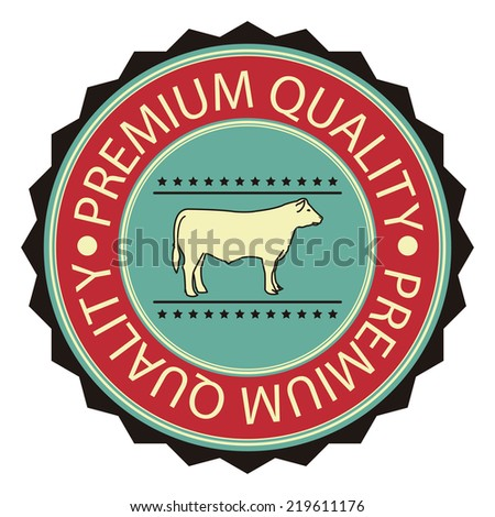 Red and Blue Vintage Style Premium Quality Meat Sign Sticker, Stamp, Label or Icon Isolated on White