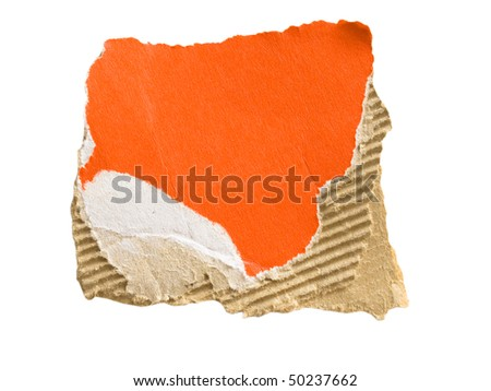 red and brown corrugated cardboard sheet isolated on white - stock photo