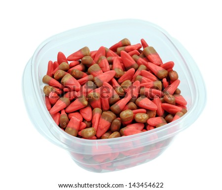 red and brown honey corn candy in box isolated on white - stock photo