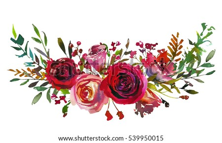Red And Coral Roses Leaves Hand Painted Watercolor Landscape Bouquet Isolated On White Background