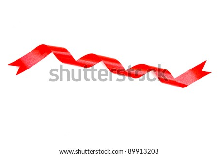 red and curly ribbon on white background