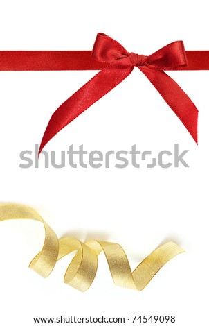 red and gold ribbon on white background - stock photo