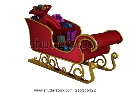 Red and gold santa sleigh on white background - stock photo
