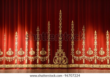 Red and gold stage theater curtain background - stock photo