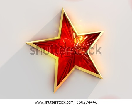 Red and gold star with number 23 on white background .  - stock photo