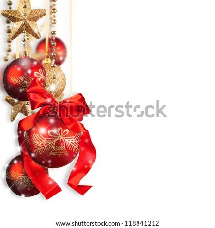 Red and golden christmas balls isolated on white background - stock photo