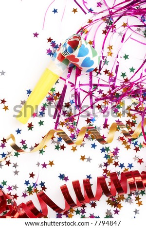 red and golden spirals, purple steamers, small confetti stars and colorful blowers on white background, party time