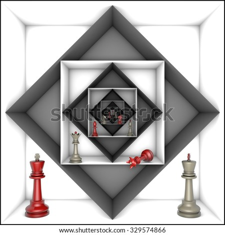 Red and gray chess pieces in black and white tunnels.