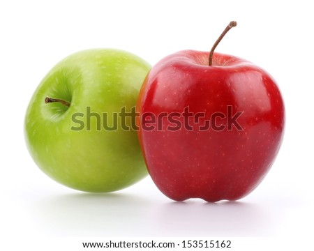 Red and green apple isolated - stock photo