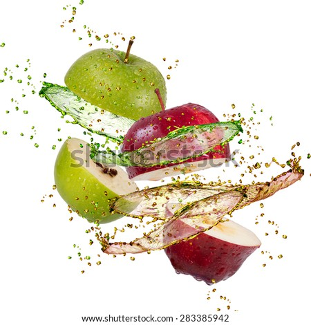 red and green apple splash on white background - stock photo