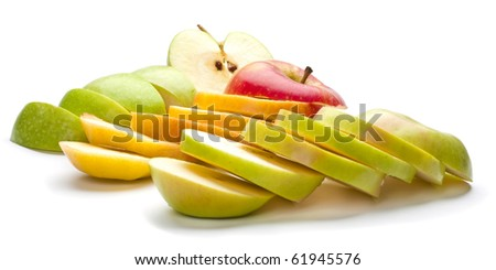 Red and green apples chopped