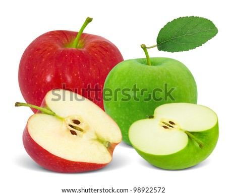 Red and green apples with slices isolated on white - stock photo