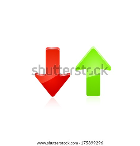 Red and green arrow. raster copy. - stock photo
