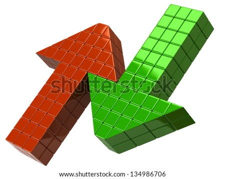 Red and green arrows - stock photo