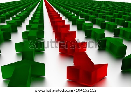 Red and green  arrows in 3D marking the direction - stock photo