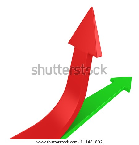 Red and green arrows pointing different directions - stock photo