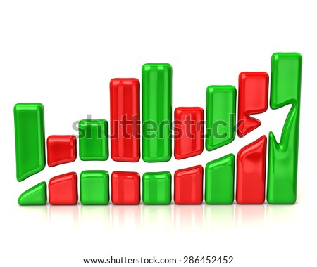 Red and green business graph