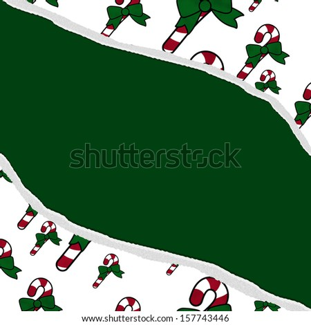 Red and Green Candy Cane Christmas Torn  Background for your message or invitation with copy-space in the middle - stock photo