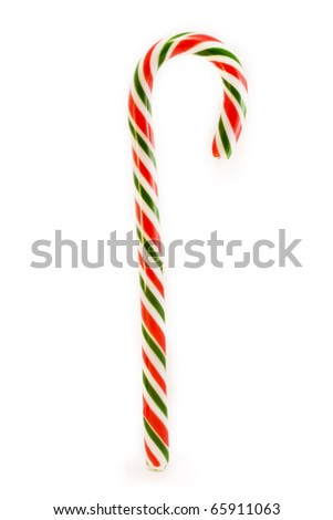 red and green candy cane over white - stock photo