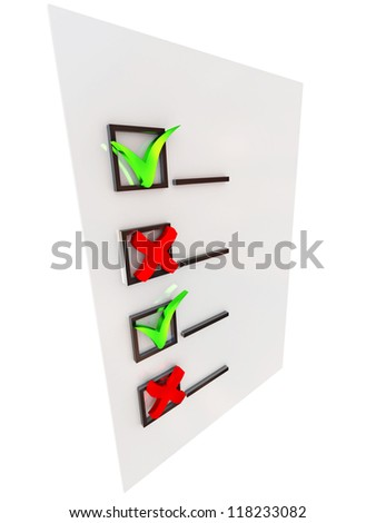 Red and green checkbox on the blank