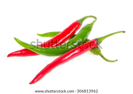 red and green chilli isolated on white background
