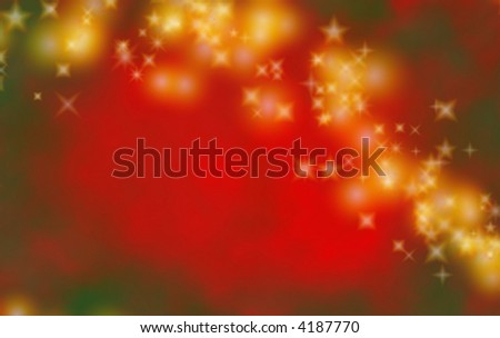 Red and green Christmas background or backdrop with gold stars. - stock photo