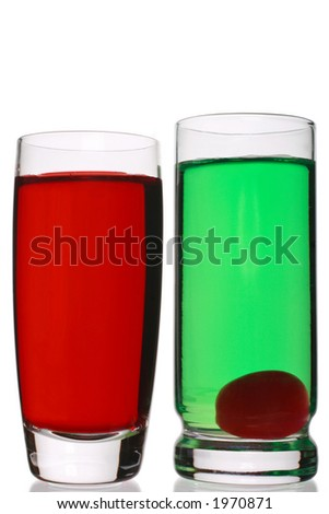 red and green colored shots - stock photo