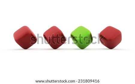Red and green cubes icon concept rendered on white background - stock photo