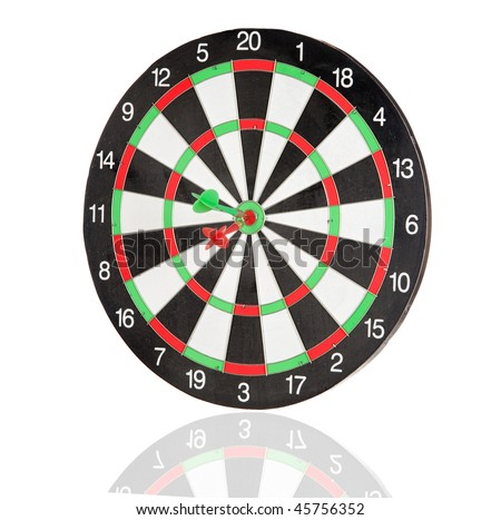 Red and green darts punctured in the center of the target isolated on white background